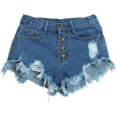 Deep Blue Cut Out Denim Short ($26) ❤ liked on Polyvore featuring shorts, cotton shorts, patterned shorts, denim short shorts, dark blue jean shorts and print shorts