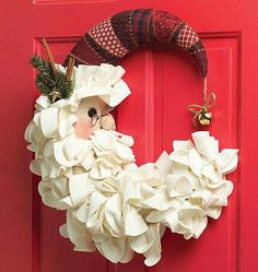 Christmas decor | santa claus wreath  | Christmas frontdoor wreath ideas | Burlap Wreath, Burlap Garland