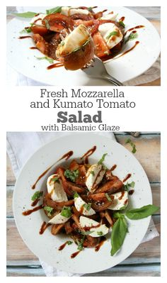 Fresh Mozzarella and Kumato Tomato Salad with Balsamic Dressing and Balsamic Glaze : one of the best tasting salads I've had in a long time!  Recipe shared from Ruth's Chris Steak House menu.