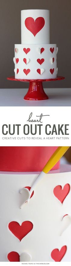 Learn how to make this Heart Cut Out Cake with a free template and step-by-step tutorial. By Rachael Teufel for TheCakeBlog.com