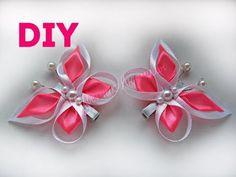 Бабочка канзаши для начинающих мастер класс  Butterfly kanzashi for beginners with their own hands - YouTube