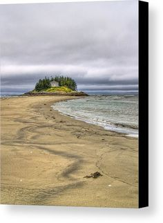 Low Tide In Popham Beach Maine Canvas Print by Tammy Wetzel.  All canvas prints are professionally printed, assembled, and shipped within 3 - 4 business days and delivered ready-to-hang on your wall. Choose from multiple print sizes, border colors, and canvas materials.