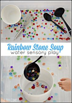 Rainbow stone sensory soup: fine motor water sensory play for toddlers and preschoolers from And Next Comes L