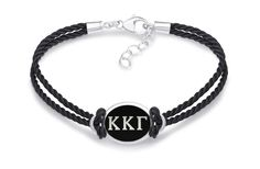Kappa Kappa Gamma Double Strand Rubber Bracelet with Antiqued Enamel Top
