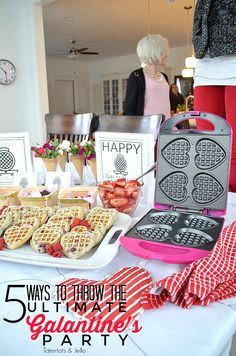 5 ways to throw the ultimate galantine's party. Get your lady friends together and celebrate friendship with waffles, photos and fun. MichaelsMakers Tatertots and Jello Valentines Breakfast, Valentines Day Dinner, Valentine Day Crafts, Be My Valentine, Valentine Ideas, Singles Holidays, Holidays With Kids, Friendship Party, Diy Party