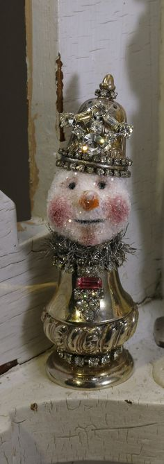 Items similar to SNOWMAN Assemblage, Mixed Media Original, Christmas Collectable, Salt Shaker . Snowman Crafts, Christmas Projects, Holiday Crafts, Holiday Fun, Sock Snowman, Snowman Wreath, All Things Christmas, Christmas Holidays, Christmas Decorations
