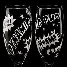 Superhero Wedding Champagne Flutes, Unique Champagne Flutes for Comic Book Themed Wedding