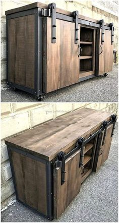 Here were old shipping pallets in a rustic design for renovation . - Wood DIY ideas - Here old shipping pallets in rustic construction for renovation …, - Upcycled Furniture, Pallet Furniture, Rustic Furniture, Western Furniture, Office Furniture, Antique Furniture, Furniture Ideas, Industrial Design Furniture, Smart Furniture