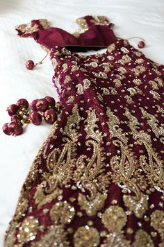 Beautiful and luxurious wine colored bridal lengha