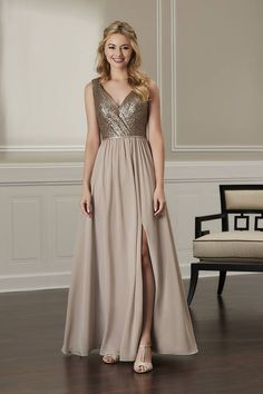 ca05cdca365 Jacquelin Bridals Canada - 22873 - Bridesmaids - This dress features a  sequin. Surplice bodice will pleating detail. The skirt is gathers chiffon  with a ...