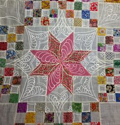 Quilts on Bastings: 1930's Vintage Le Moyne Star Quilt - gorgeous quilting on this one. More details are included on the website