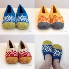 Knitting Patterns Slippers nice boots - inspiration for colourful knitted slippers - a bit fair Isle, a bit folk art. Fair Isle Knitting, Knitting Socks, Hand Knitting, Loom Knitting, Japanese House Slippers, Japanese Socks, Pull Jacquard, Knitted Slippers, Knit Slippers Pattern