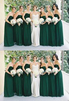 Simple Dark Green A Line Strapless Empire Waist Chiffon Bridesmaid Dresses Cheap Prom Dresses #bridesmaiddress #bridesmaid #dress #wedding #dresses #bridesmaiddresses
