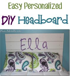 Easy DIY Headboard!  Navy or black for the boys' rooms, minus the personalization.