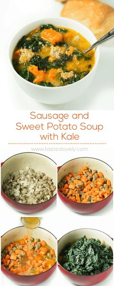 Substitute Sausage with ground turkey) and Sweet Potato Soup with Kale (paleo, gluten free, dairy free, paleo crockpot turkey Kale Sweet Potato Soup, Sausage And Kale Soup, Sausage And Sweet Potato Recipe, Sweet Potato Dinner, Potato Diet, Paleo Recipes, Cooking Recipes, Kale Soup Recipes, Detox Recipes