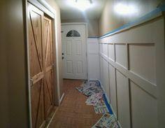 Wainscot, pine closet doors, front entrance