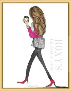 Hey, I found this really awesome Etsy listing at https://www.etsy.com/listing/487995105/roxy-pink-fashion-drawing-coffee-lovers
