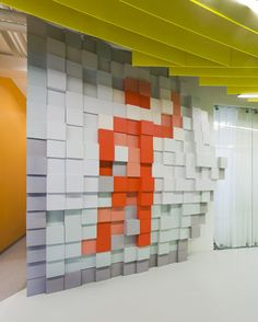 The St. Petersburg offices of internet company Yandex is furnished like the desktop of a computer, with pixellated backgrounds and huge icons