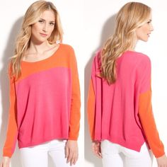 Payton color block cashmere oversized  sweater Super chic pink and orange color block sweater by Payton. Fits up to size medium because of style Payton Sweaters