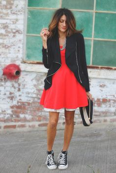 Converse and dresses(: Converse Outfits, Dress With Converse, Converse Style, Dress With Sneakers, Casual Outfits, Cute Outfits, Black Converse, Converse Sneakers, Girl Outfits