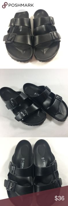 Birkenstock Arizona EVA Mens Black Slide Sandal 11 Perfect for the beach or sitting poolside, this lightweight, waterproof slide sandal is made from flexible EVA foam while the legendary footbed mimics the shape of the foot and provides excellent support.  EVA upper, lining and sole.  Birkenstock  Arizona  Men's size 11 Birkenstock Shoes Sandals & Flip-Flops