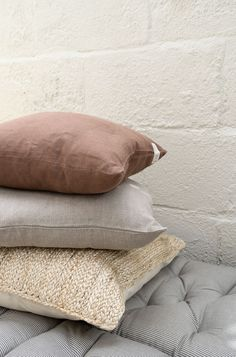 Comfy cushions for a simple minimal outdoor living area in a narrow backyard - A stack of washed linen cushions in natural tones from Linen Tales on top of a braided jute cushion from Original Home. Scandinavian Interior Design, Nordic Design, Dry Garden, H&m Home, White Doves, Outdoor Living Areas, Seat Pads, Jute, Planting Flowers