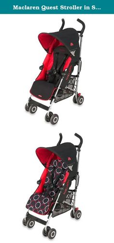 Maclaren Quest Stroller in Scarlet/Black. •Maclaren® Quest stroller •For children up to 55 lb. •5-point safety harness •4-position, full-reclining seat with extendable leg rest •Cocooning head and foot barrier •High performance aluminum chassis construction •Water-resistant hood with UV-safe viewing window and storage pocket •Includes raincover •Foot-operated linked brakes with lockable front swivel wheels •Reflective accents for additional nighttime safety •Carry strap for easy…