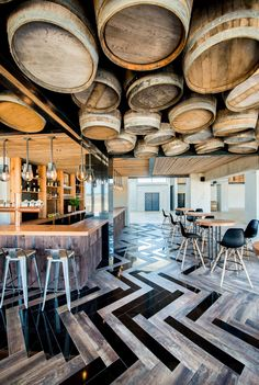 Inhouse Brand Architects executes a modern design for Anura Vineyards' new events venue and bar. Modern Restaurant Design, Pub Design, Restaurant Bar, Kitchen Design, Restaurant Interior Design, Modern Interior Design, Flat Interior, Restaurant Furniture, Interior Ideas