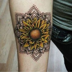 Think minute about detailing a sunflower tattoo. Obtaining a sunflower tattoo is a basic decision and a whopping thing. Sunflower tattoos are produced in several of various styles. Colorful Mandala Tattoo, Colorful Sunflower Tattoo, Sunflower Mandala Tattoo, Sunflower Tattoo Sleeve, Tattoos Mandala, Sunflower Tattoo Shoulder, Sunflower Tattoos, Sunflower Tattoo Design, Wrist Tattoos