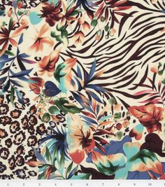 Fabric - Tropical Punch- Tropical Watercolor Floral Rayon Challis