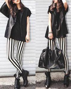 Tights Vertical Striped Leggings Pants #fashion #leggings