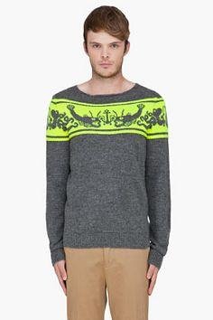 Paul Smith Grey Fish Pattern Alpaca Sweater.