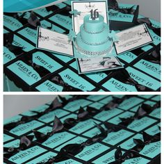Tiffany & Co.Inspired Sweet 16 Invitations. Breakfast at Tiffany's Exploding Box Invitations with 3-Tier Cake. This design can be customized for Tiffany & Co. Baby Shower, Tiffany & Co. Bridal Shower, Tiffany &  Co. Wedding Invitations or Quinceanera Invitations.