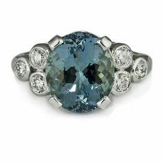 (huge but beautiful) Jeweller in London: Aquamarine fleur-de-lis engagement ring