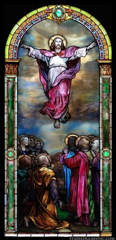 """""""Ascension Colorful"""" Religious Stained Glass Window"""