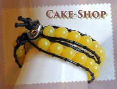 Bracelet ruban double tour perles de verre jaunes de Cake shop - Bijoux gourmands sur DaWanda.com
