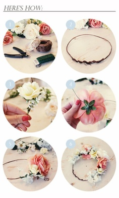 """""""Steps I used to make my flower crown.  I got my supplies from Walmart.  Super easy to make and very inexpensive accessory."""""""