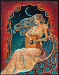 Gypsy Moon ACEO Psychedelic Goddess Altar Art Mini by EmilyBalivet