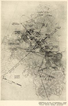 The proposed general plan of Canberra - THE NEW CAPITAL CITY OF AUSTRALIA. Walter Burley Griffin, Achitect  ARCHI/MAPS : Photo