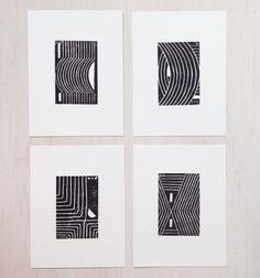 Geometric Linocut Block Prints from Zebra Wing Studio via #Appurt http://www.appurt.com
