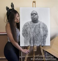 Biggie Smalls with the lyrics to Big Poppa. Canvas prints and posters for sale at michelleangeliqueart.com  Drawings by Michelle Angelique   Art