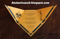 Akela's Council Cub Scout Leader Training: Cub Scout Blue & Gold Banquet Dinner Invitation Printable Ideas that look like Cub Scout Neckerchiefs