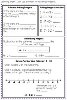 Integer Operations Interactive Notes And By Math On The Move Teachers Pay Teachers Integer Operations Interactive Notes Integers Operations with integers worksheet pdf