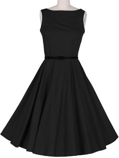 Para-Mujer-Retro-Audrey-Hepburn-Swing-Dress-50s-Con-Vestido-De-Fiesta-Cuello-Bote