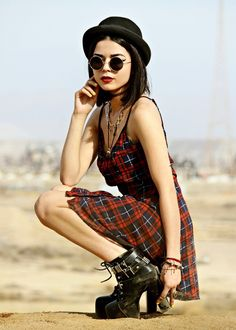 Hat, Sunglasses, Tangled Up In Plaid Dress, Red Cape & Jet Setter Platform Boots - http://ninjacosmico.com/29-grunge-outfit-ideas-fall/