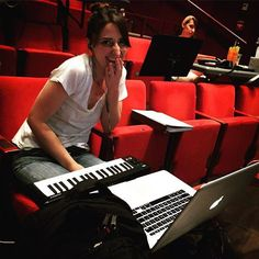 The brilliant, beautiful and tireless Sara Bareilles— always hard at work on the show, even during a break! #waitressart #cantwaitress. Photo: @instachasebrock