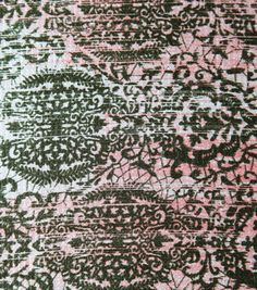 Simply Silky Prints-Lace Medallion Pk Olive Hmrd Satin at Joann.com