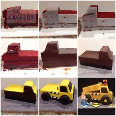 How to make a dump truck cake Tonka Truck Cake, Dump Truck Cakes, Truck Birthday Cakes, 2nd Birthday, Digger Cake, Cupcake Cakes, Cupcakes, Cake Decorating Tutorials, Cake Designs