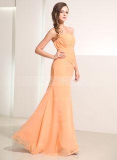 Corte A/Princesa Estrapless Vestido Gasa Vestido de festivo con Volantes (020014195)