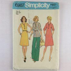 Uncut Vtg 1970s Simplicity 6987 Pattern Misses Dress Top Wide Leg Pants Size 16